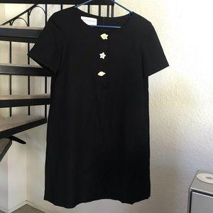 Vintage Evan Picone Seashell Black Shift Dress 4
